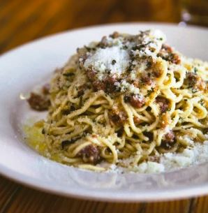 One of the options on the Al Di La Spoletian Tasting Menu is Strangozzi Spoletina, a house-made pasta, sausage, pancetta, cream, nutmeg and lemon zest