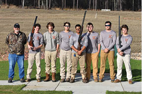 This is the first year that West Ashley High School has had a Skeet Shooting Team. The 2017 West Ashley High Clay Busters team members are (L-R): Coach Thomas Cousins, Trae Baumrind, Drake Wieczorek, Hunter Cone, Max Smalls, Ethan Wacaster, DJ Williamson, and Bryce Simons.