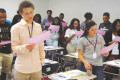 Seniors in Barbara Heyward's first semester, English IV class recited the Graduation Pledge before signing alongside Heyward and their accountability partners. This is the fifth semester that Heyward has had her students sign a pledge promising they will graduate.