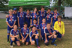 The Coast Rangers (U13 boys) won the 2017 Publix Palmetto Academy Cup State Championship. They are coached by James Poole.