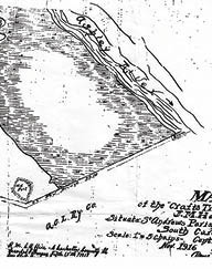 "A section of the 1916 plat illustrating the ""Old Fort"" in the bend of the ""Public Road"" to the ""New Bridge"""