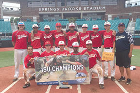 Pictured from left to right, back row first: Bryce Brown, Gabe Smith, Donovan Accerbi, Grayson Auerbach, Robbie Brown, Bryce Morris, Garrett Dunn, Chace Cooper, Coach Alan Cooper. Front row, left to right: Elijah Baker, Connor Sibbald, Colby Searson, Trapper Watkins, Vonnu Elias, and not pictured Stephen Holderness.