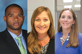 Brant E. Glover (West Ashley Academic Magnet), Michelle Conner (Ashley River Creative Arts), and Megan Williams (Springfield Elementary)