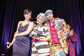 Laura Balll (left), Noel Richardson (middle) and Geoffrey Richardson (right) at last year's Lip Sync For Lungs: Live Battle