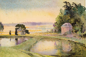 Mill Pond and Butterfly Lake (Watercolor on Paper) By Alice Ravenel Huger Smith, 1926