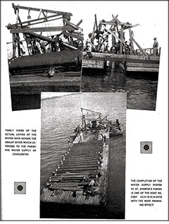 "The page from the St. Andrew's Parish Exchange Club's ""Celebration of Progress"" brochure showing the laying of the water main under the Ashley River. (Permission to reproduce the page courtesy of the National Exchange Club)"