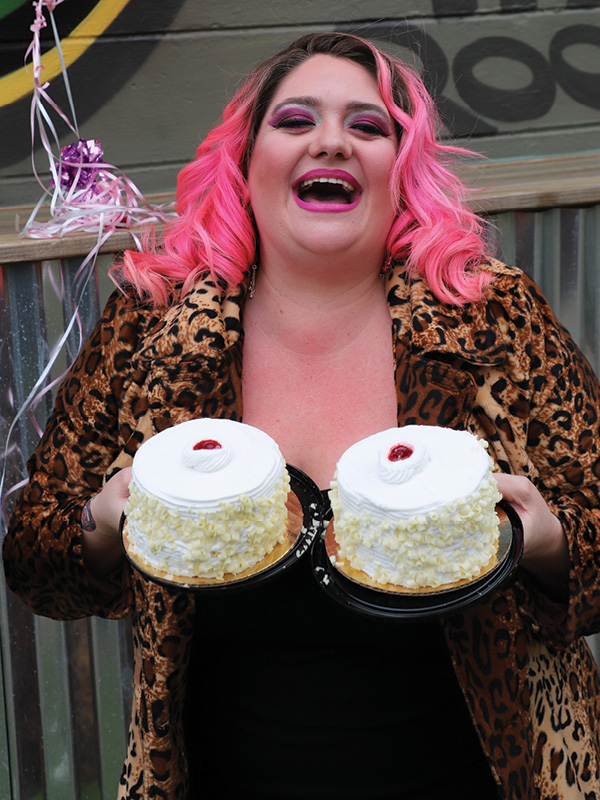 A Cake Walk is just one of the games that are a part of the Boobie Bazaar at Tin Roof. Val Trindle is turning her breast reduction into a fundraiser raising money for  a friend's mother who is battling breast cancer